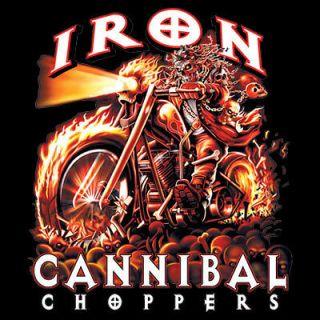 Biker Tshirt Iron Cannibal Choppers Motorcycle Helmet Rally Ride