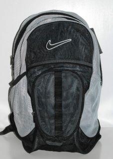 Nike Brasilia 5 XL Gray Black Mesh Backpack Mesh Gym Bag Bookbag