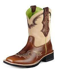 10007981 coyote brown and white calf LADIES show baby COWBOY BOOT