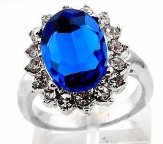1pc noble Royal Princess Blue crystal Engagement Ring with Gift Box 10