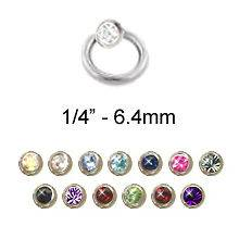 Captive Bead Ring Nose Ring Septum Hoop 1/4 2mm CZ 20G