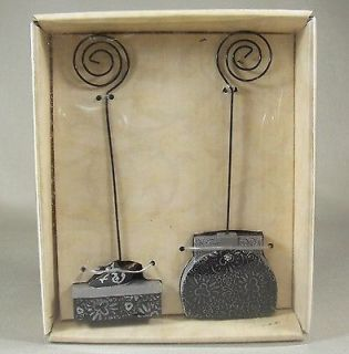 Black Silver Purse Shoe Box Memo Clip Photo Note Holder Figurines Set