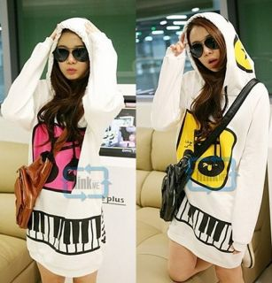 Korean Womens Cute Hooded Pullover Sweatshirt Outerwear Long Tops