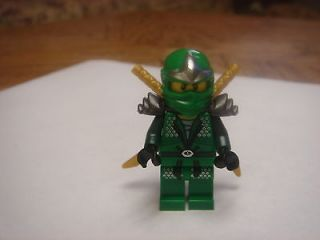 Lego Ninjago green ninja Lloyd ZX Minifigure with 2 Gold Katana swords
