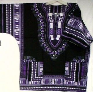 African Women Men Dashiki Shirt Blouse Black Purple Whit NotCom L XL