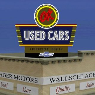 Millers OK Used Cars Animated Neon Sign O/HO Scale