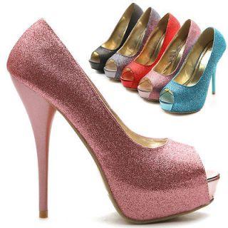 ollio Womens Open Toe High Heels Pink Glitter Platforms Pumps