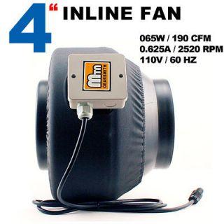 2012 MTN Gearsmith Hydroponics 4 Inline Duct Tube Exhaust Fan 190CFM
