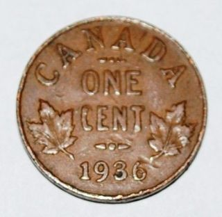 Canada 1936 1 Cent Copper Coin One Canadian Penny Nice
