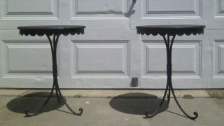 Black Wrought Iron Decorator Accent Decor Table Patio Garden Outdoor