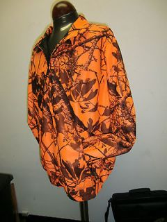 LAMINATED BOMBER JACKET BLAZE ORANGE CAMO XLARGE HUNTING CAMPING