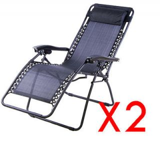 Black Set Of 2 Foldable Lounge Chair Garden Zero Gravity Recliner Home