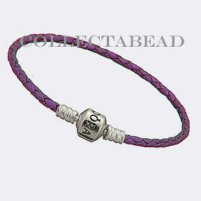 Newly listed Authentic Pandora Silver Purple Leather 7.5 Bracelet