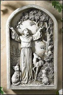 of Animals Saint St Francis Plaque Figurine Garden Patio Home Statue