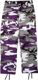 Purple Camouflage Military BDU Cargo Polyester/Cott​on Fatigue Pants