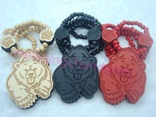 New Bear Hip Hop Pendants Wood Rosary Bead Necklaces 36 1pcs