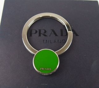 AUTHENTIC PRADA MILANO SILVER TONE KEY RING MADE IN ITALY w/ BOX