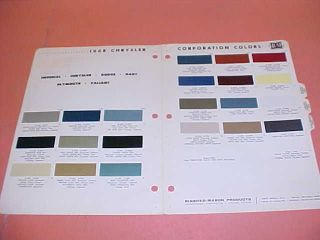 1968 CHRYSLER PLYMOUTH DODGE COLOR CHART PAINT CHIPS 68