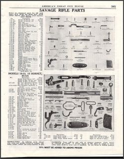 1949 SAVAGE Model 19 33, 19 Hornet, 23 AA RIFLE Vintage Parts List Ad