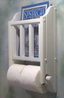 White toilet paper holder and magazine literature rack