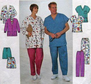 Scrubs Sewing Pattern L XL UNCUT Chest/Bust 42 48 Pants Top Shorts