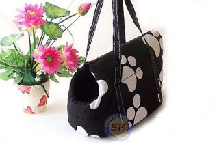 Black Paw  Dog Cat Pet Travel Carrier Tote Bag /Purse Great For Gift