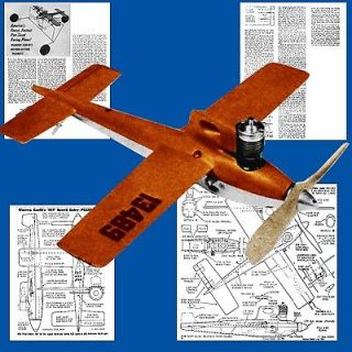 AIRPLANE PLANS CONTROL LINE 1/2 a SPEED PEANUTS AIRPLANE NOTE & PLAN
