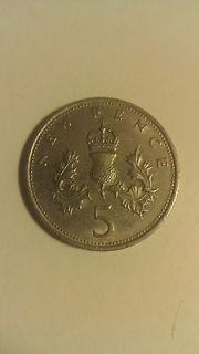 1970 United Kingdom Great Britain 5 New Pence Coin World Coin