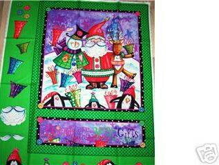 PENGUIN SNOWMAN SANTA FRIENDS R GIFTS Christmas Fabric Panel
