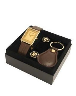 Pierre Cardin Mens Gold Plated Designer Watch Cuff Links & Key Fob
