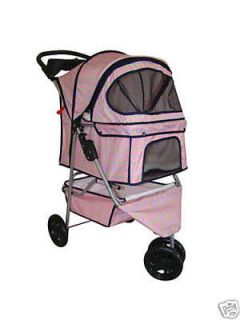 Pink Grid 3 Wheels Pet Dog Cat Stroller w/RainCover