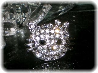 PETITE HELLO KITTY PIN/BROOCH CLEAR SWAROVSKI CRYSTAL