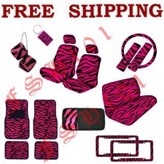 Set of Hot Pink Zebra Print Car Seat Covers Floor Mats CD Visor Dice