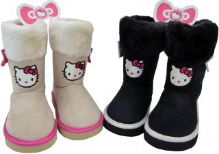 GIRLS SANRIO HELLO KITTY SEQUINED FACE FUR TOP BOOTS AVAILABLE IN