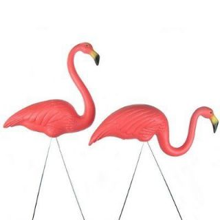 Pair 2 Plastic Pink Flamingos Signed Statue For Garden Yard Lawn Patio
