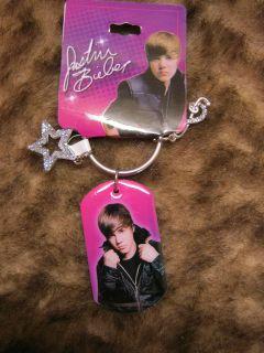 new Justin Bieber dog tag photo key chain Pop star teen idol pop