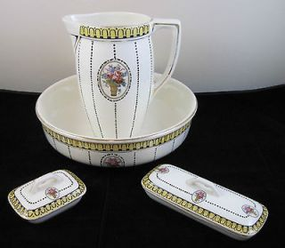 La Louviere Belgium Bathroom Set 1920s RARE! Pitcher/Bowl/D​ishes
