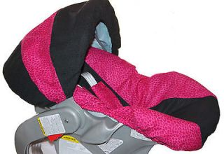 INFANT CAR SEAT COVER HOT PINK AND BLACK LEOPARD PRINT PINK