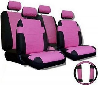 PINK BLACK Car Seat Covers SET w/ Steering Wheel Cover & Belt Shoulder
