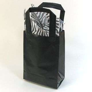 Frosted Plastic Favor Treat Gift Bags 5x7 15 pc   BLACK