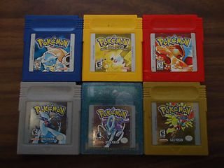 Pokemon Yellow + Red + Blue + Crystal + Gold + Silver (Gameboy) Carts