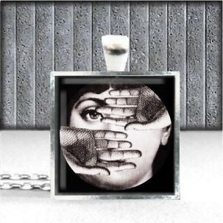 Piero Fornasetti Vtg Frame Art Charm Sterling Silver Plate Jwlry Eames