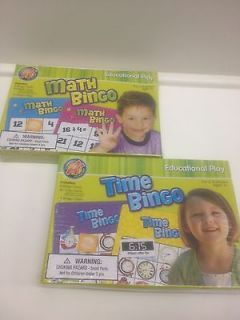 PLAY Teacher Homeschool Supply Math & Time Bingo Games 2   8 players