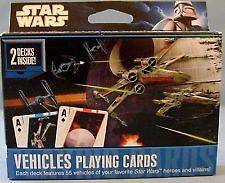 NEW STAR WARS VEHICLES PLAYING CARDS 2 DECKS OVER 50 CHARACTERS
