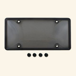 TINTED PLASTIC LICENSE PLATE SHIELD+FRAME cover tag protector smoke