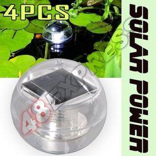 4pcs Solar Power LED White Light Trees Hang Ball Pond Floating Lights