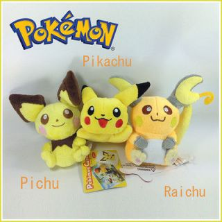 3X Nintendo Pokemon Plush Pichu Pikachu Raichu Soft Toy Stuffed Animal