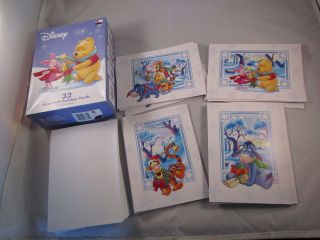 32 NIB Disney Winnie Pooh Tigger Eeyore Piglet Christmas Holiday Cards