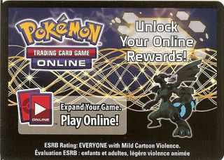 POKEMON ONLINE CODE CARD FROM THE 2012 ZEKROM EX TIN