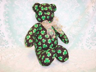 Handmade Stuffed Teddy Bear Black with Green Shamrock Fabric